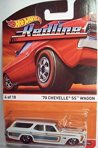 2015 Hot Wheels Redline '70 Chevelle SS Wagon 4 of 18 White with Blue & Red Racing Stripes (Redline Shelby)