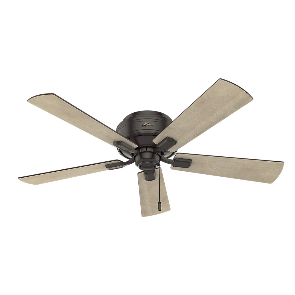 Hunter Indoor Low Profile Ceiling Fan, with pull chain control – Crestfield 52 inch, New Bronze, 54208