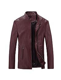 URBANFIND Men's Causal Slim Fit PU Leather Motorcycle Jacket