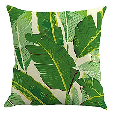 Green Leaves Decorative Throw Pillow Covers,18 x 18 inchs Linen Square Couch Pillow Covers,Plant Decor Throw Pillow Case for Home Couch Bedding Sofa Car: Musical Instruments