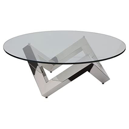 Nuevo Como Round Glass Top Coffee Table In Silver