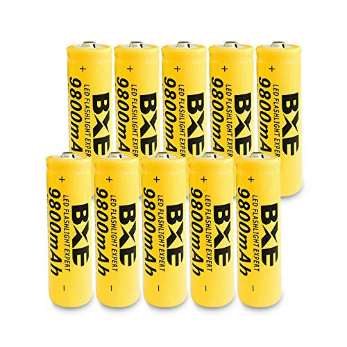 Flashlight Headlamp Special Batteries,10X BXE 18650 Battery 9800mAh Li-ion 3.7V Rechargeable Batteries