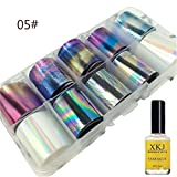 Nail Art Transfer Foil Sticker For Nail Tip Decoration & Star Glue Set