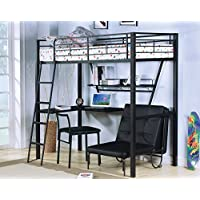 ACME Senon Silver and Black Loft Bed with Desk