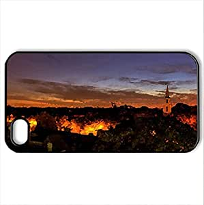 Beautiful Sunset - Case Cover for iPhone 4 and 4s (Houses Series, Watercolor style, Black)