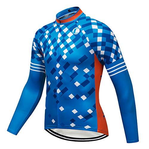 Coconut Ropamo Men's Long Sleeve Cycling Jersey, Bike Biking Shirt, Bicycle Tops, MTB Shirts (Blue/Orange, M) ()