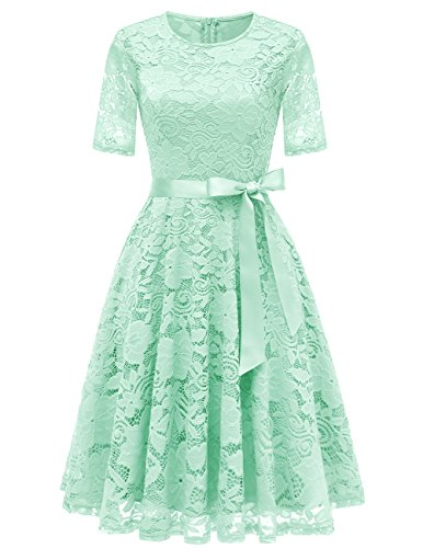 DRESSTELLS DresstellsShort Scoop Bridesmaid Floral Lace Dress Cocktail Formal Swing Dress Mint - Green Cosplay Dress