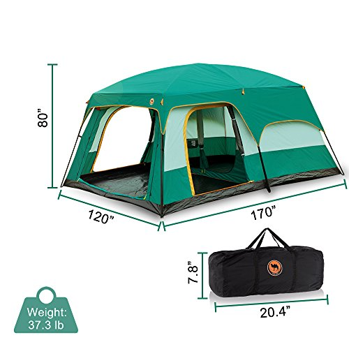 Newdora 12 People Straight Wall Cabin Tent,2 Room Waterproof Tent, Camping Tent, Professional Tent,Backpacking Tent, Easy Set Up,UV Protection for Camping,Festivals, Beach Goers-L170″W120″H80″,Green