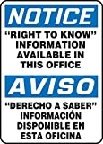 Accuform �RIGHT TO KNOW� INFORMATION AVAILABLE IN THIS OFFICE (BILINGUAL) (SBMCHM825VA)