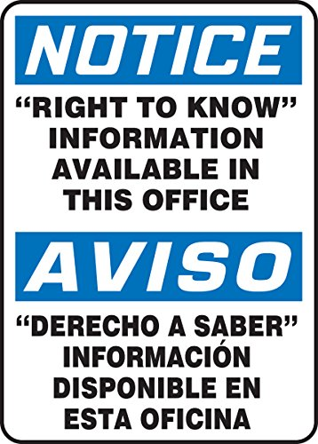 Accuform �RIGHT TO KNOW� INFORMATION AVAILABLE IN THIS OFFICE (BILINGUAL) (SBMCHM825XF) by Accuform (Image #1)