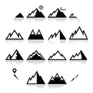 alfombrilla de ratón montañas iconos conjunto de vectores - ronda - 20cm