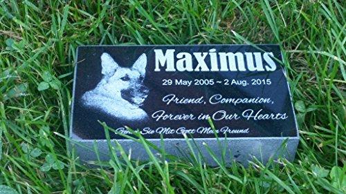 Personalised Pet Stone Memorial Marker Granite Marker Dog Cat Horse Bird Human 4'' X 7'' X 2'' Custom Design Personalized German Shepherd by Pet Stones USA (Image #2)