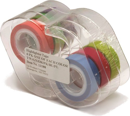 Lee Removable Highlighter Tape, 1 Roll of Each of 6 Standard Colors, 1/2-Inch with Dispenser (13188)