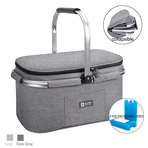 ALLCAMP Lightweight Picnic Basket Collapsible Insulated Cooler Bag for 4 Person 32L Extra Large Family Size with 2 Ice Packs(Light Gray)