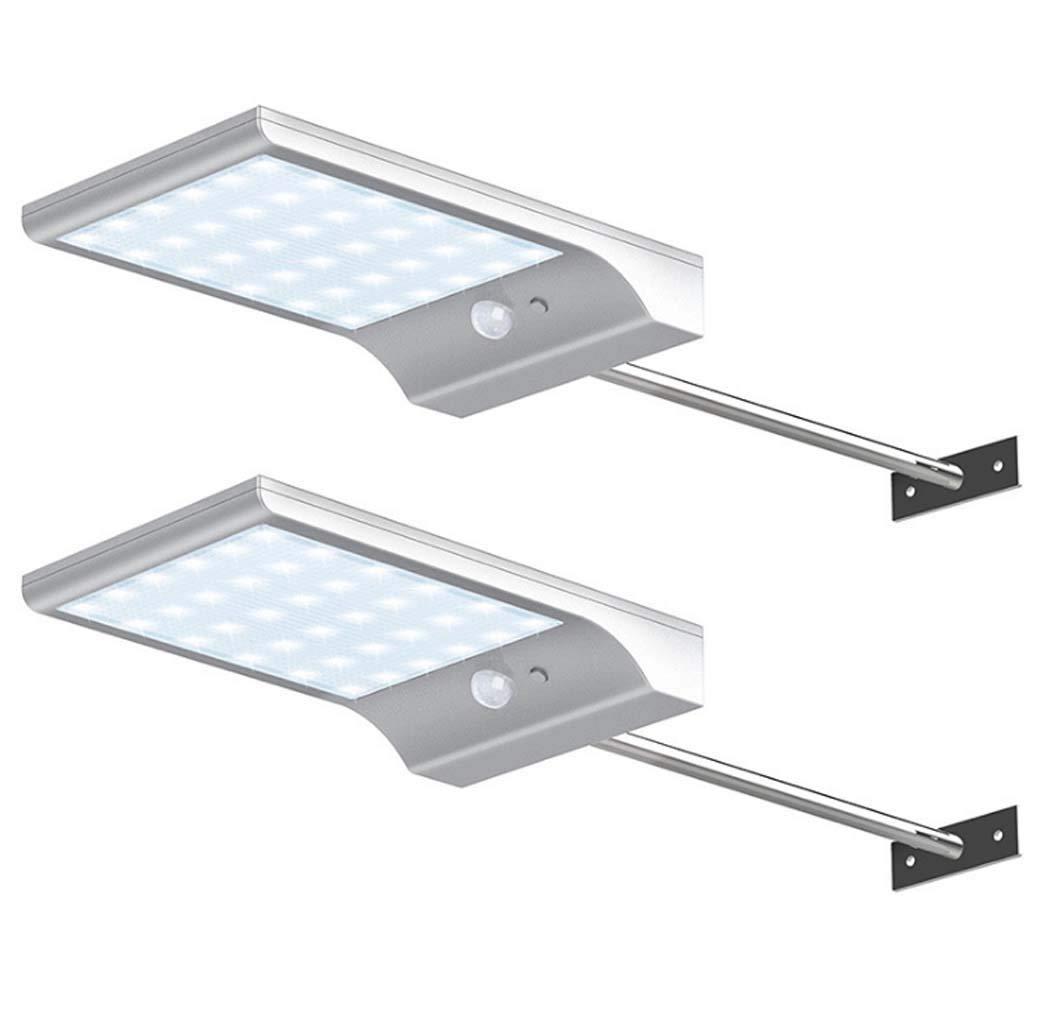 Applique da parete a grondaia solare con palo di montaggio Rivelatore a sensore di movimento a LED da esterno a 36 LED Illuminazione di sicurezza, 3 modalità di illuminazione per cantiere, Bbianca