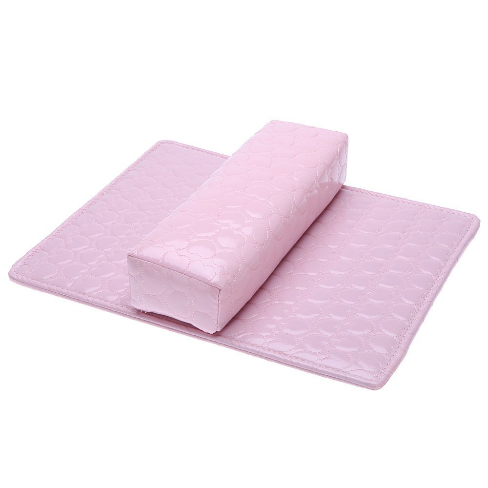 SODIAL(R) Soft Hand Cushion Pillow And Pad Rest Nail Art Arm Rest Holder Manicure Nail Art Accessories PU Leather Pink