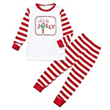 Family Matching Clothes Christmas Let's Be Jolly Funny Xmas Parent-Chil Long Sleeve Clothes Set (3-4 Years, White)