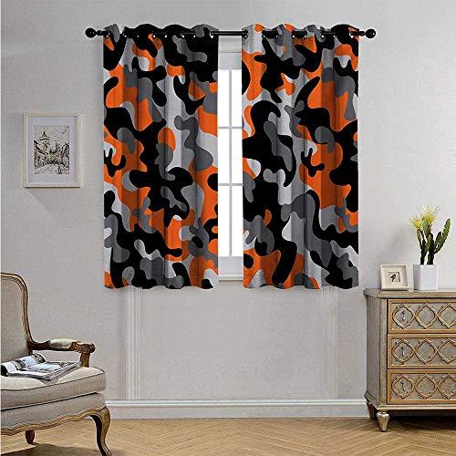 - CamoPatternedDrapeforGlassDoorVibrant Artistic Camouflage Lattice Like Service Theme Modern Design Print Blackout Drapes W55 x L39(140cm x 100cm) Orange Grey Black