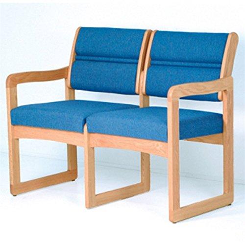 Dakota Wave Double Sled Base Sofa with Standard Fabric in Light Oak-Charcoal Grey Standard - Charcoal Grey Standard
