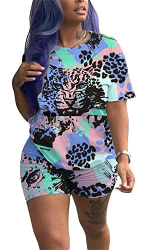 Women Sexy 2 Piece Outfits Set Floral Print Colorblock O Neck Loose T Shirt Bodycon Short Pants Joggers Tracksuit ()