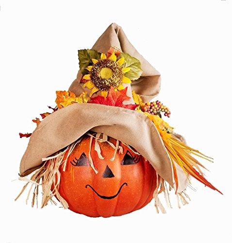 Fall Scarecrow Pumpkin Centerpiece - Thanksgiving Table Decor - Jack O Lantern Decoration - Halloween Scarecrow Face, Harvest Garland (Scarecrow Face Paint)