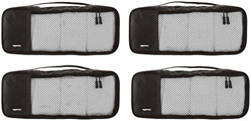 AmazonBasics 4 Piece Packing Travel Organizer Cubes Set - Slim 2 Double zipper pulls make opening/closing simple and fast Mesh top panel for easy identification of contents, and ventilation Soft mesh won't damage delicate fabrics
