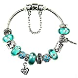 Charm Bracelet with Charms for Pandora Green Xmas Birthday Gift for Teenage 7' Birthstones December