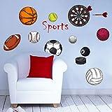 Fenleo Wall Stickers Sport Ball Decor Mural Decals for Kids Rooms Bedroom Bathroom Living Room Kitchen