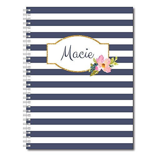 Blue Eyed Girl Personalized Floral and Stripes Spiral Notebook/Journal, 120 College Ruled or Checklist Pages, durable laminated cover, and wire-o spiral. 8.5x11 | 5.5x8.5 | Made in the USA -