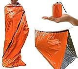 Z-Point PE Emergency Sleeping Bag - Reusable Waterproof Thermal Bivy Sack Survival Emergency Blanket with Portable Bag for Camping, Hiking, Outdoor, Activities, Orange