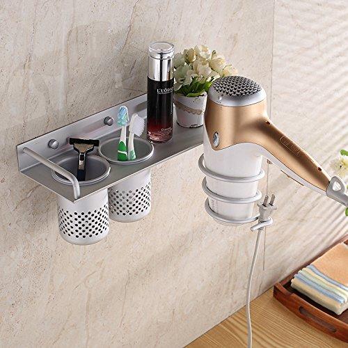 OLQMY-Bathroom Rack, Oxidation Treatment Space Aluminum Dryer Frame, Multi-Function Hairdryer Frame