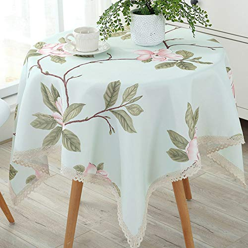 (AOyEKXD Tablecloth Nordic Big Round Tablecloth Pad Waterproof Anti-Scalding Oil-Free Disposable Small Round Cotton Linen Table 63 Inch Round)