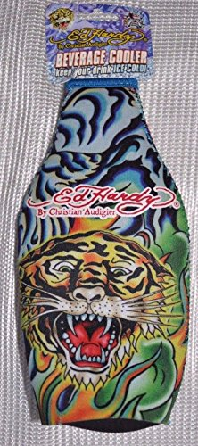 Ed Hardy Tattoo Neoprene Bottle Cooler Flame Tiger blue /Koozie with Zipper (Ed Hardy Wine compare prices)