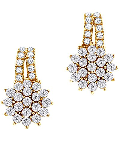 Round Cut White Natural Diamond Flower Drop Earrings in 10K Solid Gold (0.33 Cttw) by Wishrocks