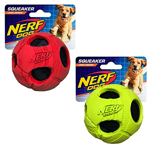 Nerf Dog Large Rubber Wrapped Bash Tennis Ball Green & Red Dog Toy (2 Pack) well-wreapped