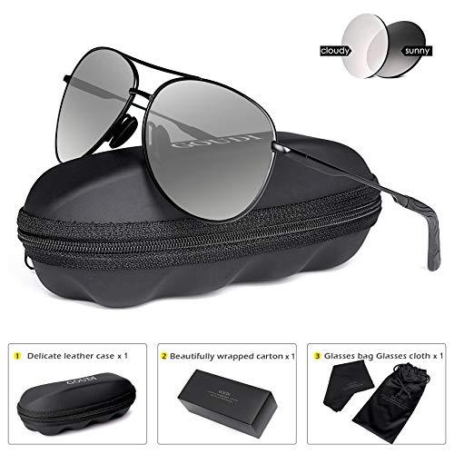 Polarized Photochromic Aviator Sunglasses for Men - goudi Metal Frame driving UV 400 Protection Mens Women Mirror Sunglasses 8002(Photochromic/black)