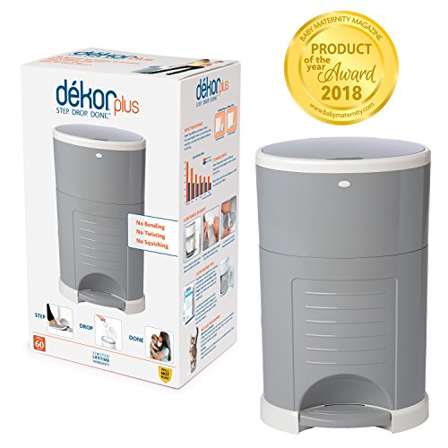 Dekor Plus Hands-Free Diaper Pail | Gray | Easiest to Use | Just Step - Drop - Done | Doesn't Absorb Odors | 20 Second Bag Change | Most Economical Refill System |Great for Cloth Diapers (Best Cloth Diaper Pail)
