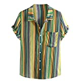 Mens Summer t Shirts Short Sleeve Tronet Mens Ethnic Printed Stand Collar Colorful Stripe Short Sleeve Loose Henley Shirt