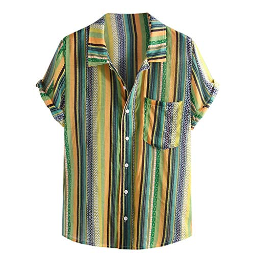 - Mens Ethnic Printed Shirt,Stand Collar Colorful Stripe Short Sleeve Loose Pocket Henley Shirt Green