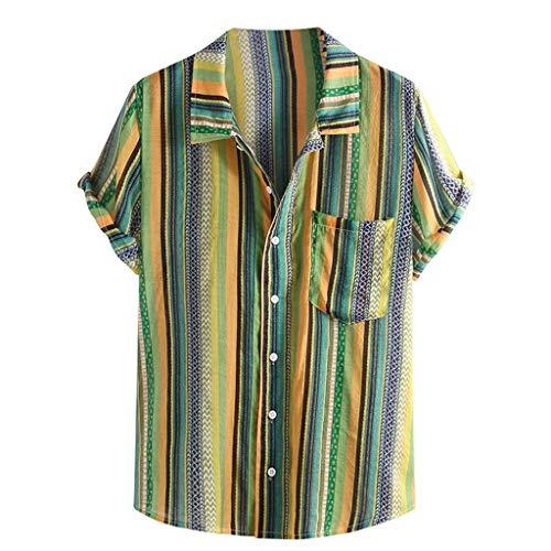 Mens Ethnic Printed Shirt,Stand Collar Colorful Stripe Short Sleeve Loose Pocket Henley Shirt Green