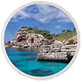 Pixels Round Beach Towel With Tassels featuring ''View Of The Cala Salmunia Bay'' by Pixels