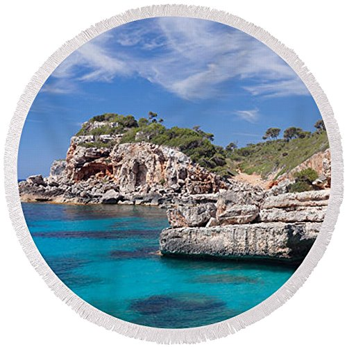 Pixels Round Beach Towel With Tassels featuring ''View Of The Cala Salmunia Bay'' by Pixels by Pixels