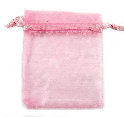 Organza Wedding Party Favor Bags- Package of 100 (6″x9″, Pink)
