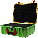 STR8Brand STR8 Brand 17'' Weather Resistant, Smellproof, Lockable, Glass Protector, Outdoor Carrying Case for Multi-Purpose with Pre Cut Grid Configuration Foam (Roaring Rasta Yellow TOP)