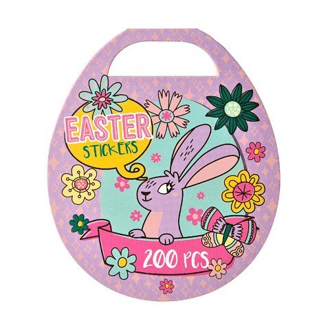 200 Stickers Bundle of 3 Items EasterTime! Easter Basket Stuffers Happy Easter Coloring and Activity Book 32 Pages and Chenille Bunny Ears Headband Kit and Easter Egg Mini Sticker Book