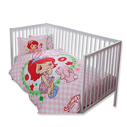 100% Organic Cotton Soft and Healthy Baby Crib Bed Duvet Cover Set 4 Pieces, Strawberry Shortcake Bunny Baby Bedding Set -
