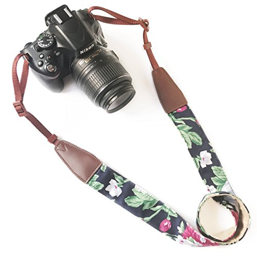 Camera Neck Shoulder Belt Strap,Alled Leather Vintage Print Soft Camera Straps for Women/Men for DSLR/SLR/Nikon/Canon/Sony/Olympus/Samsung/Pentax (Leather Bkue Print White Flower)