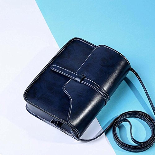 Leisure Handle Leather Bag Cross Shoulder Bag Shoulder Dark Paymenow Messenger Little Bag Body Blue Crossbody RvqAnw87q