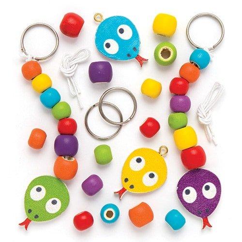 Maker Your Own Snake Wooden Keyring & Bag Dangler Kits (Pack of 4) for Kids to Decorate -