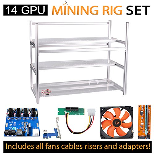 AAAwave 14 GPU open frame mining rig case set + 12x AAAwave 2100 rpm fan+ PCI riser 14+ Triple Power Supply Rig